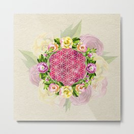 Flower of life in watercolor flower wreath Metal Print
