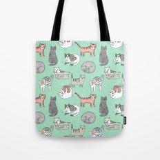 Cat pattern cute nursery cat lady kittens by andrea lauren Tote Bag