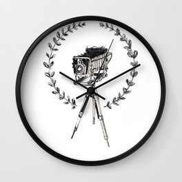 Vintage Camera with Wreath Wall Clock