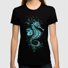 Cyan Seahorse LARGE Womens Fitted Tee Black