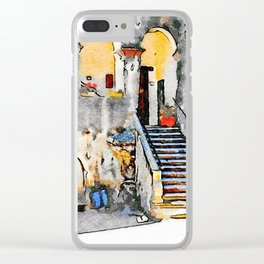 Tortora: courtyard with open gallery Clear iPhone Case