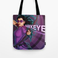 kate bishop Tote Bags featuring Kate Bishop by Emily Doyle