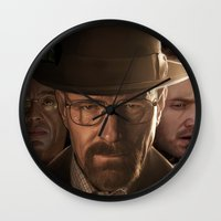 breaking bad Wall Clocks featuring Breaking Bad by SB Art Productions