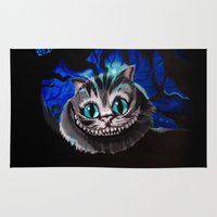 cheshire cat Area & Throw Rugs featuring Cheshire Cat by Janice Wong