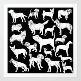 I LOVE DOGS (black) Art Print