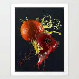 Fruits splash Art Print