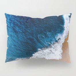 Prussian Blue Water Meets Sand Beach Aerial Landscape Pillow Sham
