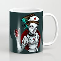 nurse Mugs featuring zombie nurse by Lyxy