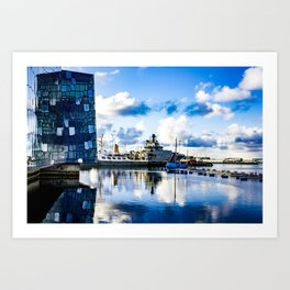 View of Boats on the Sea behind the Harpa Concert Hall in Reykjavik, Iceland Art Print