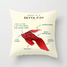 Anatomy of a Betta Fish Throw Pillow
