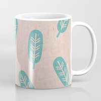 feather Mugs featuring Feather by sinonelineman