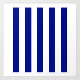 Phthalo blue - solid color - white vertical lines pattern Art Print