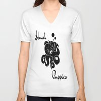 puppies V-neck T-shirts featuring Hush Puppies Japan by Mike Semler