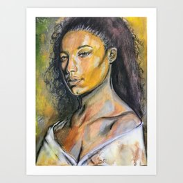 Yellow girl Art Print