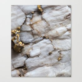 White Quartz with Gold Veining Canvas Print