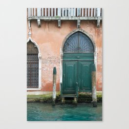 Venetian green door near the water - travel photography Canvas Print