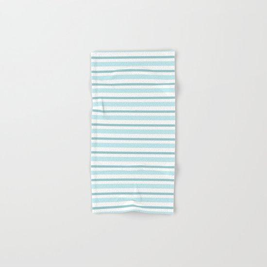 Stripes Lines horizontal - different colors of blue aqua #Society6 Hand & Bath Towel
