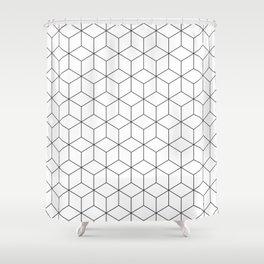 3D Cubes Line Pattern Shower Curtain