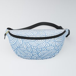 Gradient blue and white swirls doodles Fanny Pack