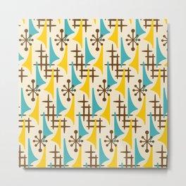 Retro Mid Century Modern Atomic Wing Pattern 424 Brown Yellow and Turquoise Metal Print