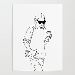 Woman with Coffee Poster