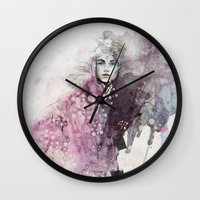fashion illustration Wall Clocks featuring FASHION ILLUSTRATION 15 by Justyna Kucharska