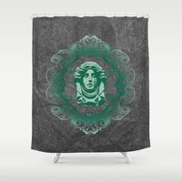 haunted mansion Shower Curtains featuring Haunted Mansion - In Regions Beyond Now by Joel Dickinson