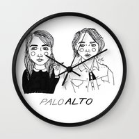 cactei Wall Clocks featuring Palo Alto by ☿ cactei ☿