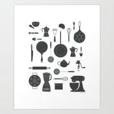 Kitchen Tools (black on white) Art Print