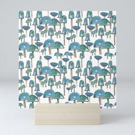 Turquoise mushrooms Mini Art Print