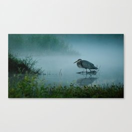 Blue Heron Misty Morning Canvas Print