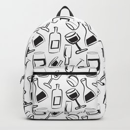 Wine Lovers Illustrated Wine Glasses and Wine Bottles Backpack
