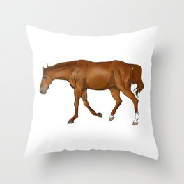 Phar Lap, sorrel/chestnut Thoroughbred (without halter) Throw Pillow