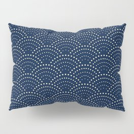 Japanese Blue Wave Seigaiha Indigo Super Moon Pattern Pillow Sham