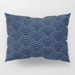 Japanese Blue Wave Seigaiha Indigo Super Moon Pattern Pillow Sham