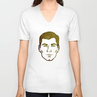 archer V-neck T-shirts featuring Archer by Spooky Dooky