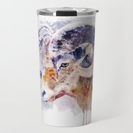 Bighorn Sheep watercolor portrait Travel Mug