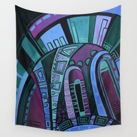 neon Wall Tapestries featuring NEON by Deyana Deco