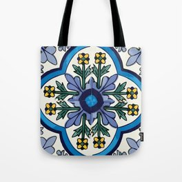Talavera Mexican tile inspired bold design in blues, greens, and yellows Tote Bag