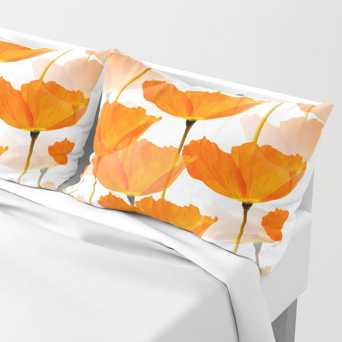 Orange Poppies On A White Background #decor #society6 #buyart Pillow Sham