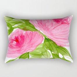 Pink Peonies in Watercolor Rectangular Pillow