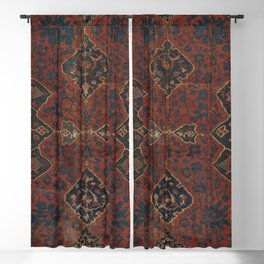 Boho Chic Dark VI // 17th Century Colorful Medallion Red Blue Green Brown Ornate Accent Rug Pattern Blackout Curtain