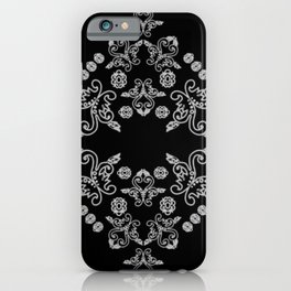 'Love' -  Heart of lace in black and white iPhone Case