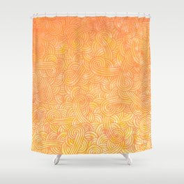 Ombre yellow and orange swirls doodles Shower Curtain