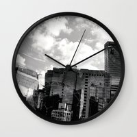 buildings Wall Clocks featuring Buildings  by Mich Li