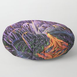 Electric Wisteria Willow Tree Floor Pillow