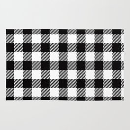 90's Buffalo Check Plaid in Black and White Rug
