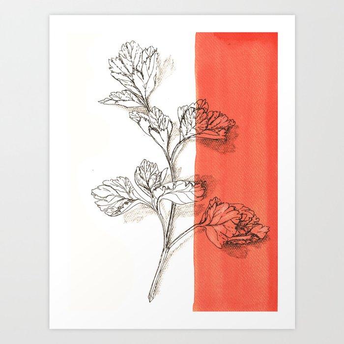 parsley branch nature watercolor orange Art Print