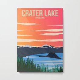 Crater Lake National Park - Travel Poster Metal Print