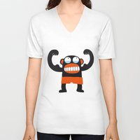 muscle V-neck T-shirts featuring Muscle Monkey by Zubinski Products